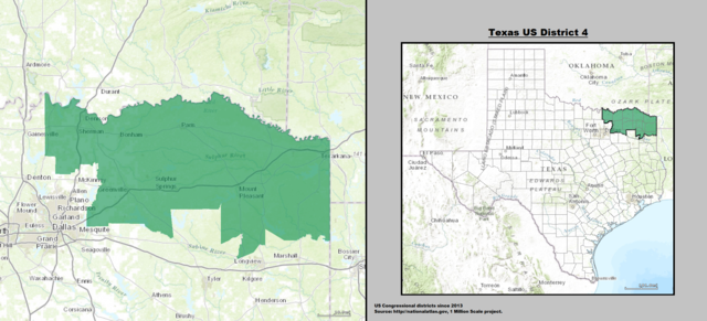 Texas' 4th Congressional District Map as of the 113th United States Congress