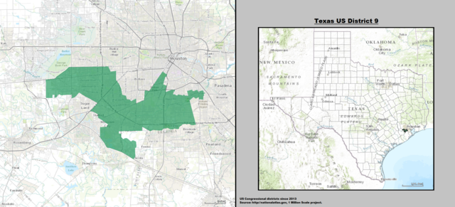 Texas' 9th Congressional District Map as of United States Congress 113 with list of US House District's major cities & towns.