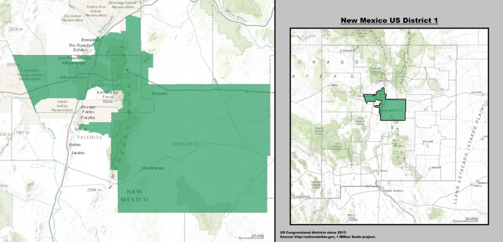 New Mexico's 1st Congressional District Map as of United States Congress 113 with US House District's major cities and towns.