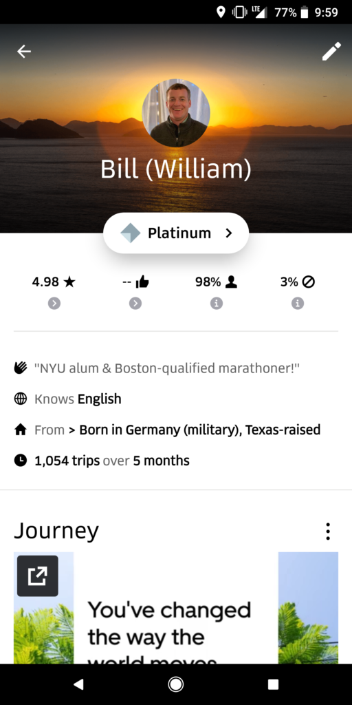 """4.98 Uber Driver Rating, Acceptance Rate and Career Number of Rides of Website Author Bill Hammons, Screencaptured for Review"""""""